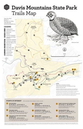Trails Map of Davis Mountains State Park (SP) in Texas. Published by Texas Parks & Wildlife.