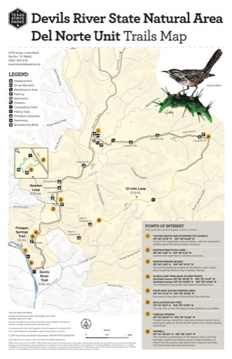Trails Map of Devils River State Natural Area (SNA) in Texas. Published by Texas Parks & Wildlife.