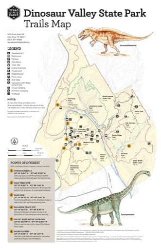 Trails Map of Dinosaur Valley State Park (SP) in Texas. Published by Texas Parks & Wildlife.