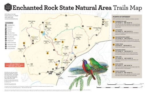 Trails Map of Enchanted Rock State Natural Area (SNA) in Texas. Published by Texas Parks & Wildlife.