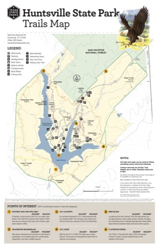 Trails Map of Huntsville State Park (SP) in Texas. Published by Texas Parks & Wildlife.