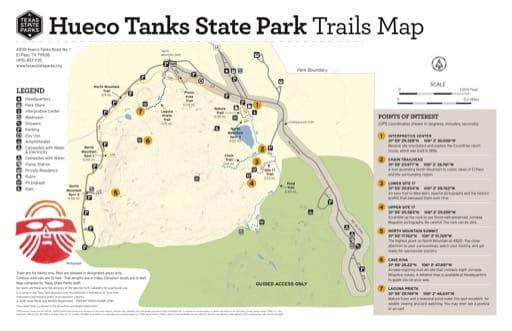 map of Hueco Tanks - Trails Map