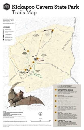 map of Kickapoo Cavern - Trails Map