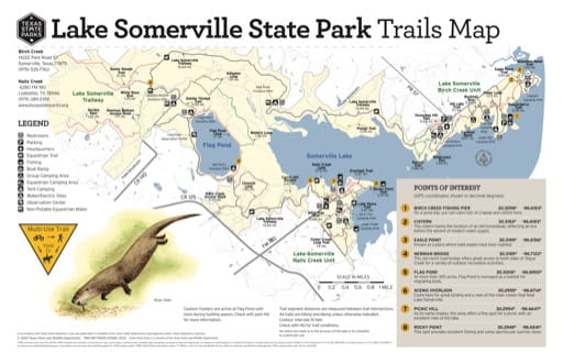 Trails Map of Lake Somerville State Park and Trailway (SP) in Texas. Published by Texas Parks & Wildlife.