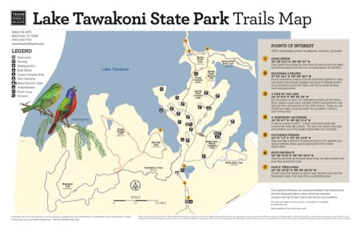 Trails Map of Lake Tawakoni State Park (SP) in Texas. Published by Texas Parks & Wildlife.