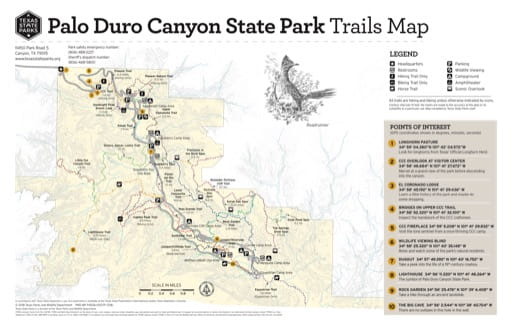 map of Palo Duro Canyon - Trails Map