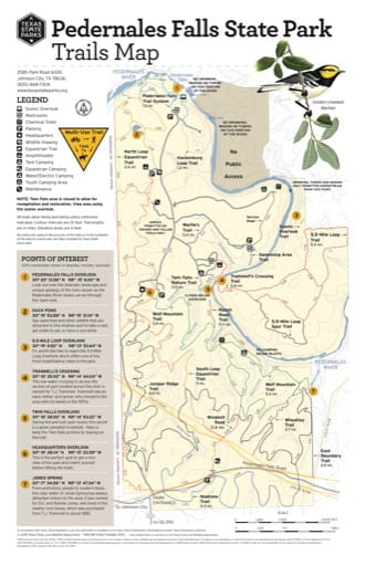 Trails Map of Pedernales Falls State Park (SP) in Texas. Published by Texas Parks & Wildlife.