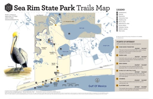 Trails Map of Sea Rim State Park (SP) in Texas. Published by Texas Parks & Wildlife.