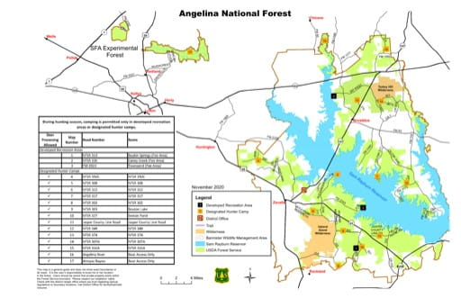Hunter Camp Map of Angelina National Forest (NF) in Texas. Published by the U.S. Forest Service (USFS).