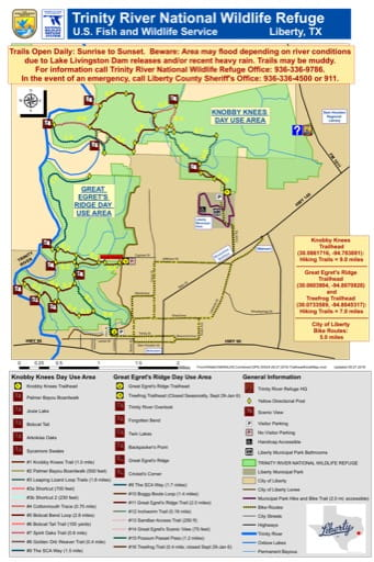 Trails Map of Trinity River National Wildlife Refuge (NWR) in Texas. Published by the U.S. Fish & Wildlife Service (USFWS).
