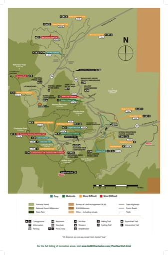 Visitor Map of Spring Mountains National Recreation Area (NRA) in Humboldt-Toiyabe National Forest (NF) in Nevada. Published by the U.S. Forest Service (USFS).