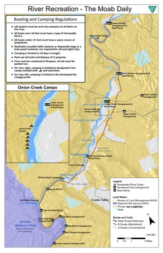 Map of Colorado River Moab Daily campsites and campgrounds near Moab in Utah. Published by the Bureau auf Land Management (BLM).