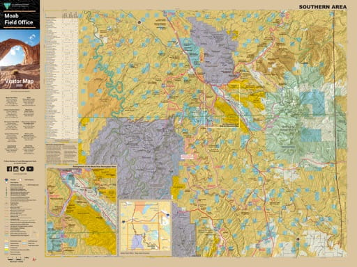 Visitor Map (southern part) of the BLM Moab Field Office area in Utah. Published by the Bureau of Land Management (BLM).