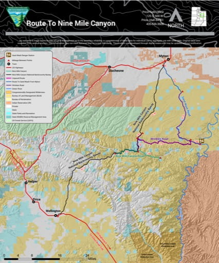 Map of Route to Nine Mile Canyon in the Price Field Office area in Utah. Published by the Bureau of Land Management (BLM).