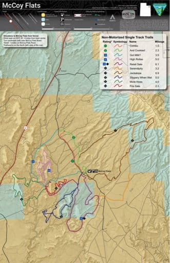 Map of the McCoy Flats Trails System in the BLM Vernal Field Office area in Utah. Published by the Bureau of Land Management (BLM).