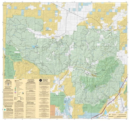 Motor Vehicle Travel Map (MVTM) of Pine Valley Ranger District in Dixie National Forest (NF). Published by the U.S. Forest Service (USFS).