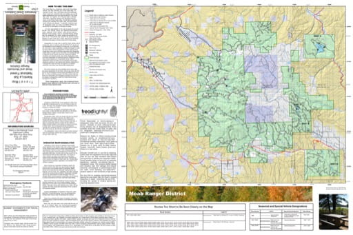 Motor Vehicle Travel Map (MVTM) of Moab Ranger District in Manti-La Sal National Forest (NF). Published by the U.S. Forest Service (USFS).
