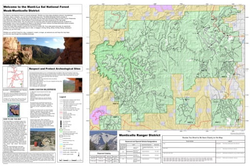 Motor Vehicle Travel Map (MVTM) of Monticello Ranger District in Manti-La Sal National Forest (NF). Published by the U.S. Forest Service (USFS).
