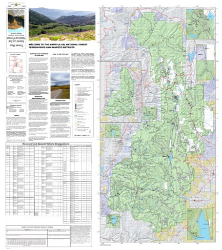 Motor Vehicle Travel Map (MVTM) of Ferron Price and Sanpete Ranger Districts in Manti-La Sal National Forest (NF). Published by the U.S. Forest Service (USFS).