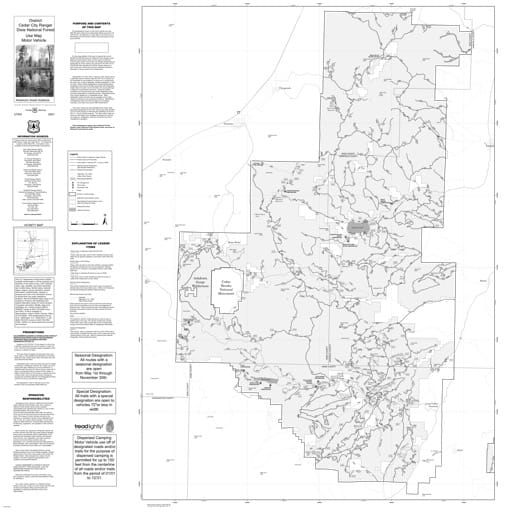 Motor Vehicle Use Map (MVUM) of Cedar City Ranger District in Dixie National Forest (NF) in Utah. Published by the U.S. Forest Service (USFS).,