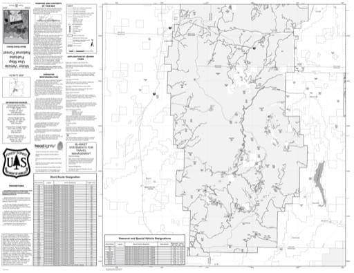 Motor Vehicle Use Map (MUTM) of Beaver Ranger District in Fishlake National Forest (NF) in Utah. Published by the U.S. National Forest Service (USFS).