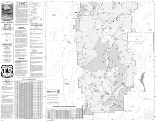 Winter Motor Vehicle Use Map (MVUM) of Beaver Ranger District in Fishlake National Forest (NF) in Utah. Published by the U.S. National Forest Service (USFS).