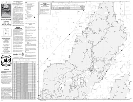 Motor Vehicle Travel Map (MVUM) of the Fillmore South area in Fishlake National Forest (NF) in Utah. Published by the U.S. National Forest Service (USFS).