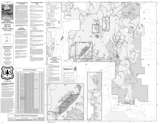 Winter Motor Vehicle Use Map (MVUM) of Fremont River Ranger District (North) in Fishlake National Forest (NF) in Utah. Published by the U.S. National Forest Service (USFS).