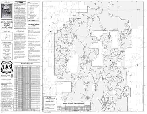 Motor Vehicle Travel Map (MVUM) of the Salina Section of Richfield Ranger District in Fishlake National Forest (NF) in Utah. Published by the U.S. National Forest Service (USFS).