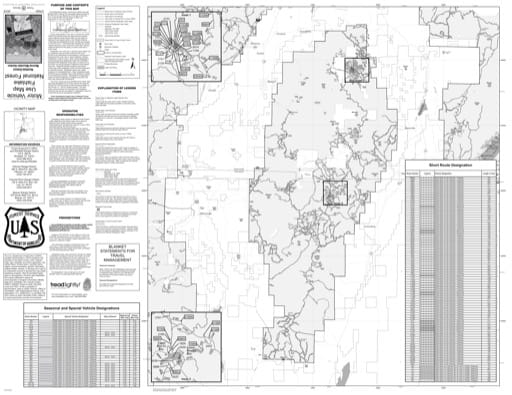 Motor Vehicle Travel Map (MVUM) of the Richfield Monroe Mountain area in Fishlake National Forest (NF) in Utah. Published by the U.S. National Forest Service (USFS).