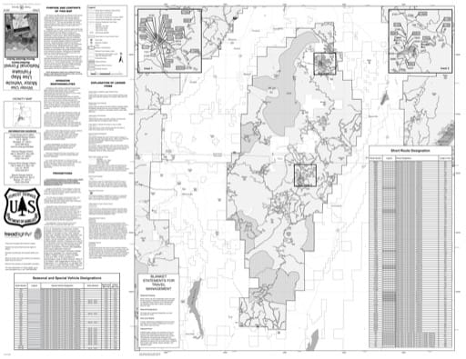 Winter Motor Vehicle Travel Map (MVUM) of the Richfield Monroe Mountain area in Fishlake National Forest (NF) in Utah. Published by the U.S. National Forest Service (USFS).