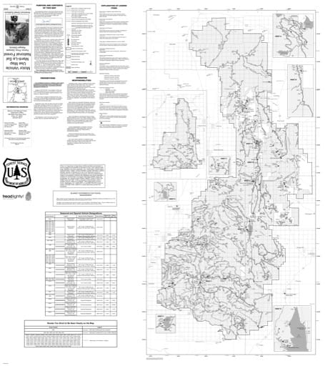 Motor Vehicle Use Map (MVUM) of Ferron-Price and Sanpete Ranger Districts in Manti-La Sal National Forest (NF). Published by the U.S. Forest Service (USFS).