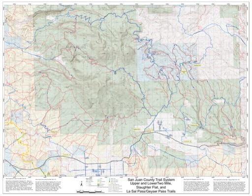 Map of Two Mile, Slaughter Flat and La Sal/Geyser Pass Off-Highway Vehicle (OHV) Trails. Published by San Juan County.