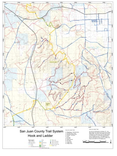 Map of Hook and Ladder Off-Highway Vehicle (OHV) Trails. Published by San Juan County.