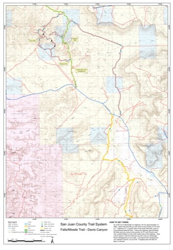 Map of Falls-Missile Trail and Davis Canyon Off-Highway Vehicle (OHV) Trails. Published by San Juan County.