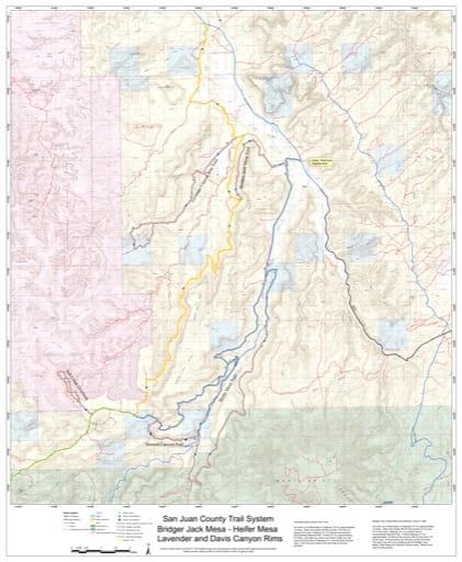 Map of Bridger Jack Mesa, Heifer Mesa and Lavender and Davis Canyon Rims Off-Highway Vehicle (OHV) Trails. Published by San Juan County.