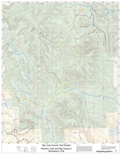 Map of Peavine, Dark and Rig Canyons and Gooseberry Off-Highway Vehicle (OHV) Trails. Published by San Juan County.