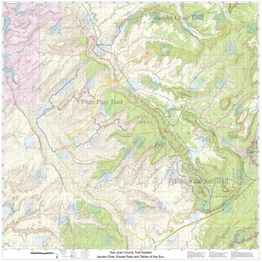 Map of Jacobs Chair, Piute Pass and Tables of the Sun Off-Highway Vehicle (OHV) Trails. Published by San Juan County.