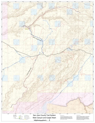 Map of Moki Canyon and Castle Wash Off-Highway Vehicle (OHV) Trails. Published by San Juan County.