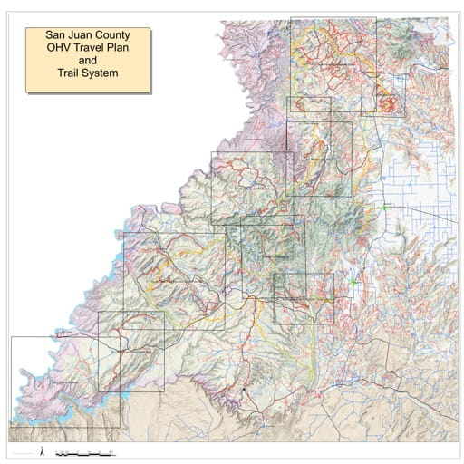 Map of the San Juan County Off-Highway Vehicle (OHV) Travel Plan and Trail System. Published by San Juan County.