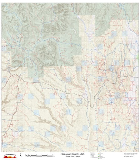 Map 8 of the San Juan County Travel Plan in Utah. Published by San Juan County.