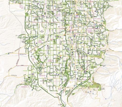 Southern Salt Lake County Bikeways Map. Published by Salt Lake City.