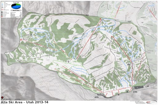 Map of Alta Trails in Ski City ski area. Published by Ski City.