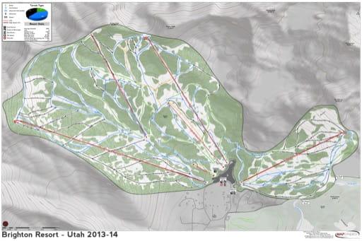 Map of Brighton Trails in Ski City ski area. Published by Ski City.