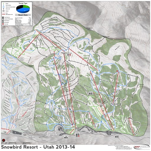 Map of Snowbird Trails in Ski City ski area. Published by Ski City.