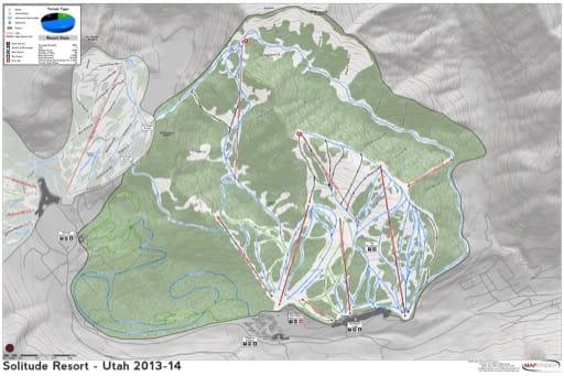 Map of Solitude Trails in Ski City ski area. Published by Ski City.