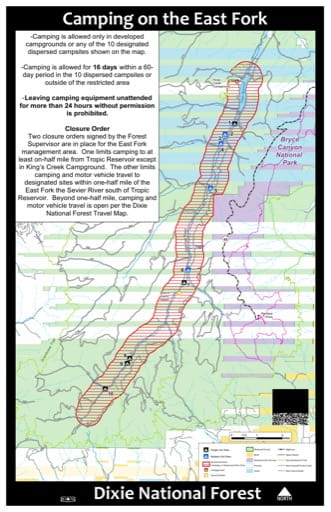 Map for Camping on the east Fork in Dixie National Forest (NF) west of Bryce Canyon National Park (NP) in Utah. Published by the U.S. Forest Service (USFS).