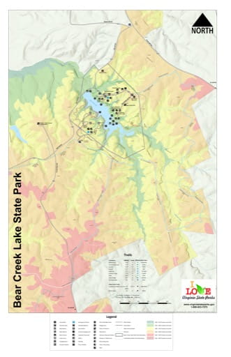 Visitor Map of Bear Creek Lake State Park (SP) in Virginia. Published by Virginia State Parks.