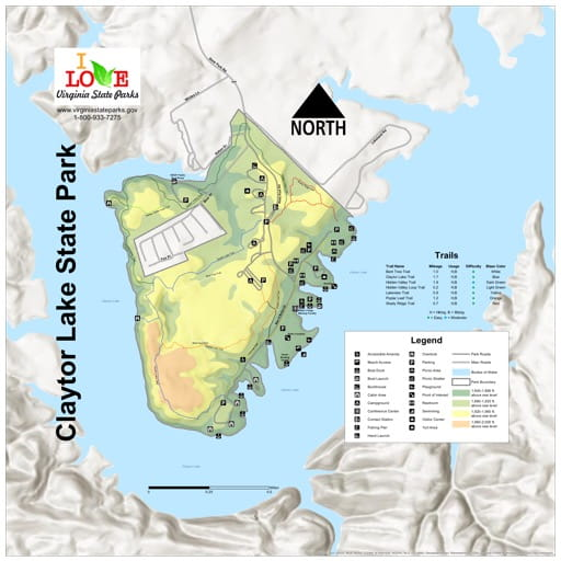 Visitor Map of Clator Lake State Park (SP) in Virginia. Published by Virginia State Parks.