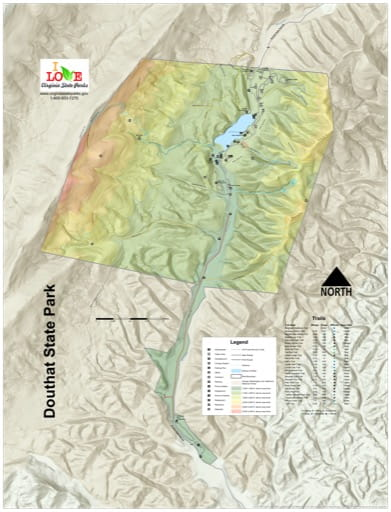 Visitor Map of Douthat State Park (SP) in Virginia. Published by Virginia State Parks.